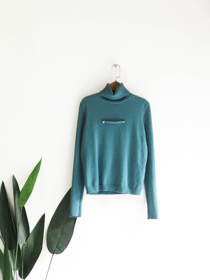Lake water gray green styling collar collar winter antiques Kashmir cashmere vintage sweater cashmere