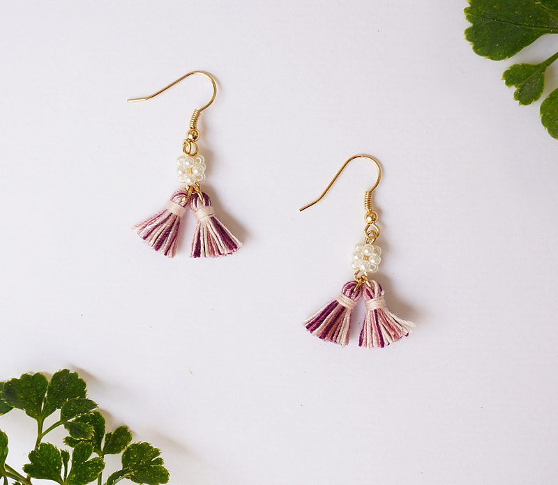 Purple Flower Marriage - Pearl Flower Ball Mixed Color Tassel Earrings
