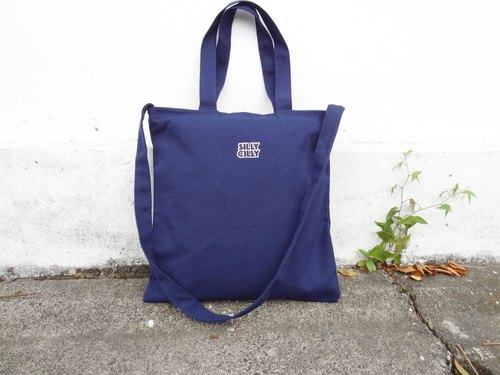 【Beginning of the course】 sharp Hilly LOGO dark blue university / A4 / double cloth / inner bag / zipper / dual canvas bag