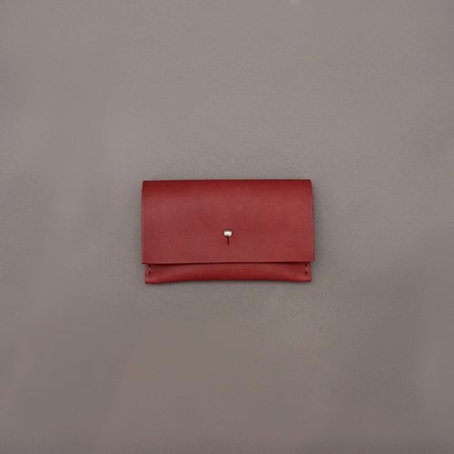 Business card holder leather / red vegetable tanned leather / handmade leather goods