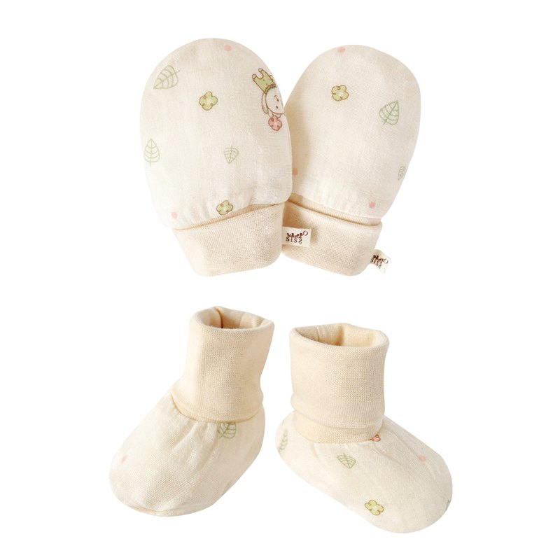 [SISSO organic cotton] send you a flower gauze gloves x feet set
