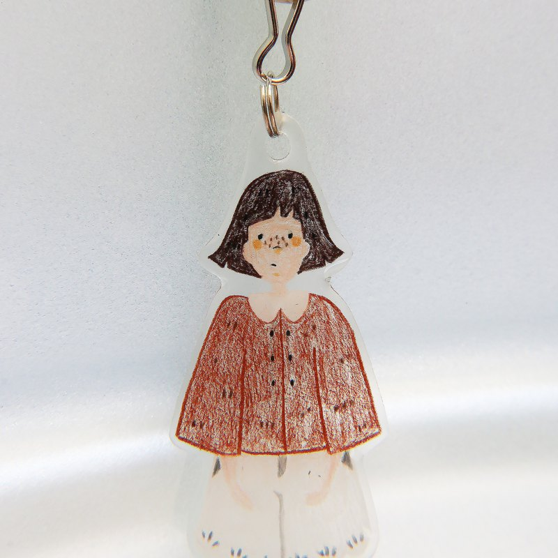 Hand-painted illustration charm key ring /// hair up