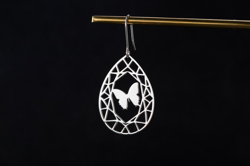 Anti-allergy medical steel gems and animals series: butterfly (unilateral earrings-changeable clip type)