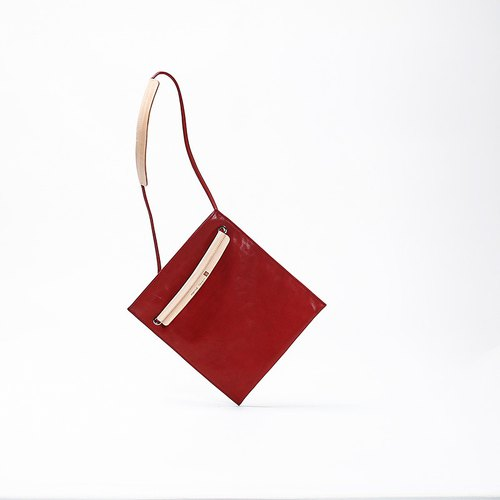 Bodhi Says FOSTYLE One Shoulder Messenger Dual Pack Simple Lightweight Layered Leather Shoulder Bag Red