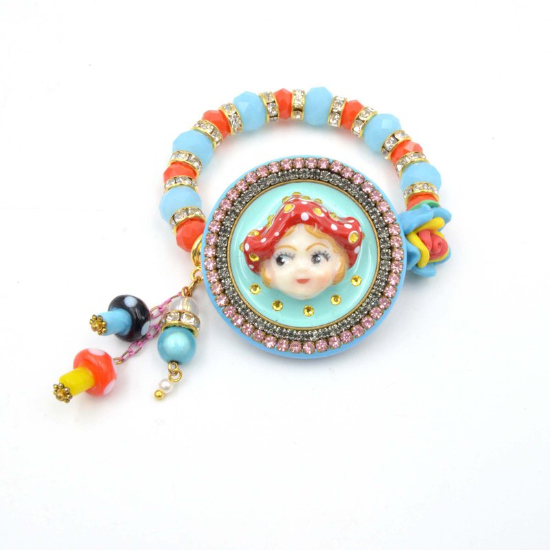 TIMBEE LO Red Dot Goblin Doll Crystal Semi-Precious Stone Flashing Diamond Beaded Rubber Band Bracelet
