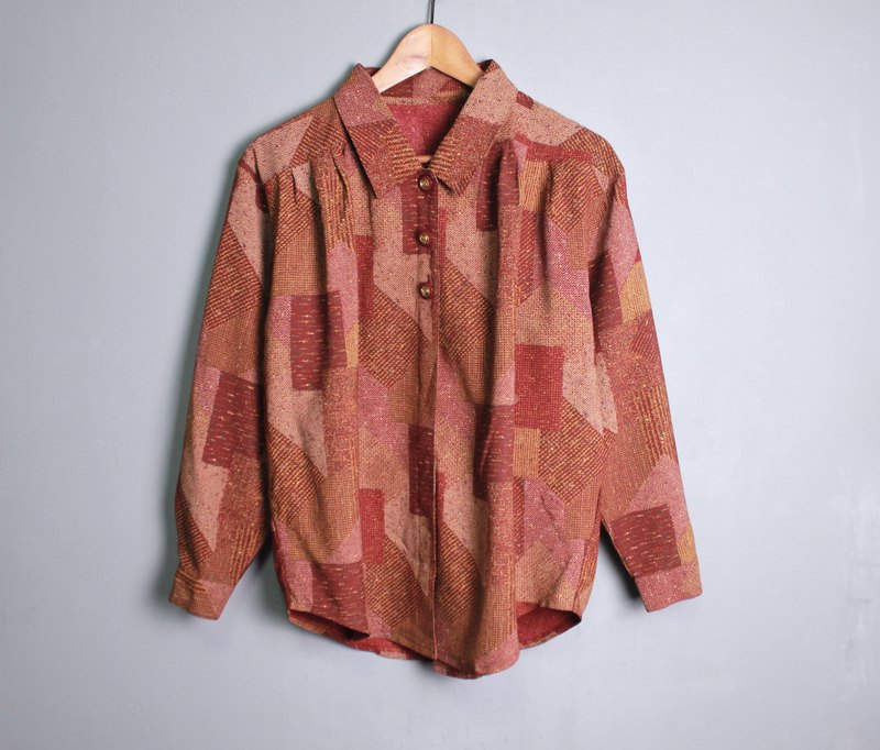 FOAK vintage / reserved medium / dark red tatami checkered shirt