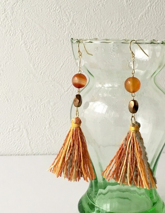 Carnelian and quartz divergent tassel earrings or earrings