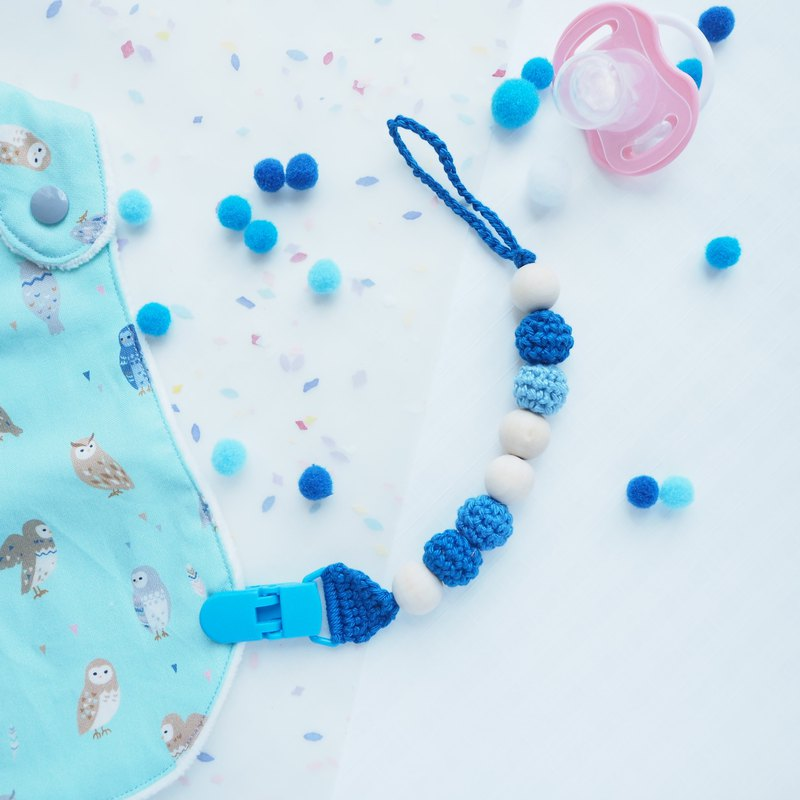 Birthstone Color Crochet Pacifier Clips - September Sapphire Blue