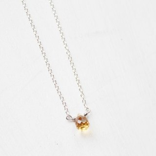 【NOVEMBER 11-birthstone-Citrine 】lucky clavicle silver necklace (adjustable)