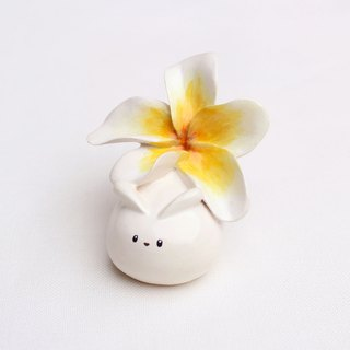 Handmade plumeria rabbit  of clay doll