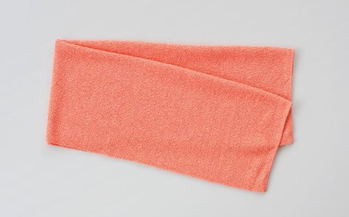 Linen knitted face towel (satin finish) Orange