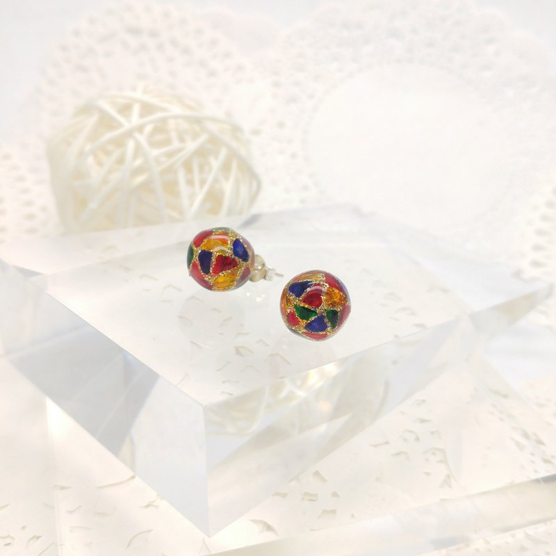 10mm Glass-painted Sterling Silver earrings - Glitter-Gold line, Color