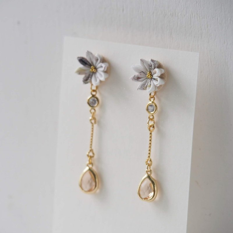 Elegant Shades of Grey Flower and Crystal Earrings Clip-on 14KGF,S925 custom