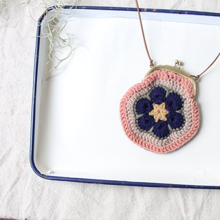 Woolen purse with two color plus a rope chain