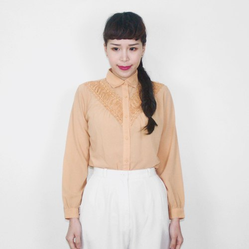 Powder orange lace chiffon vintage long-sleeved shirt BG4023
