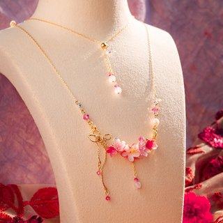 Strawberry Bouquet 14K Gold-plated 925 Silver Necklace (with glass chain)