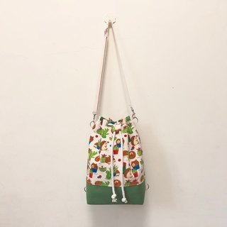 Hedgehog and thorn 3way beam bucket bag (hand / shoulder / back)