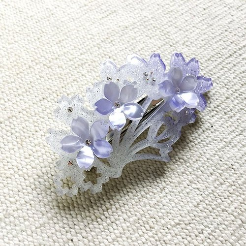 Sakura dye, automatic folder, hairpin - purple silver