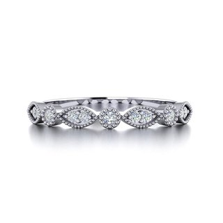 【PurpleMay Jewellery】18k White Gold Antique Diamond Ba Natural Diamond Band R008