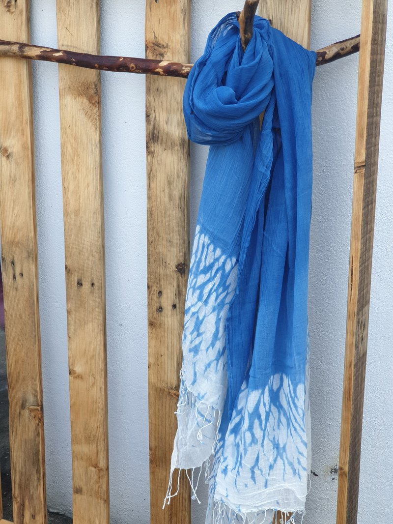 Surrounded by happiness, light blue spray, cotton tassel, long scarf, wild hand dyed gift, self-use scarf