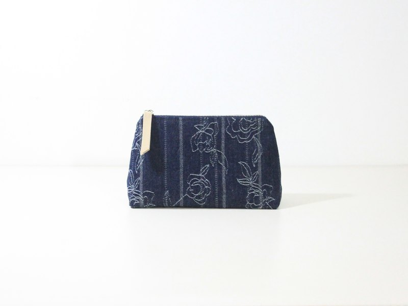 【The MAMA's Closet】Two Colors Denim Cotton (Rose) / Cosmetic Bag ( Pouch )