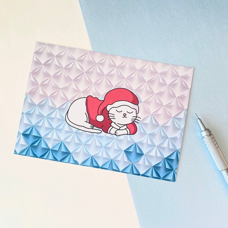 SANTA CAT Blue X'mas Postcard