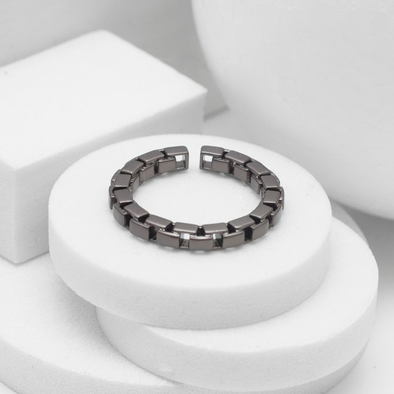 Recovery Square Chain Ring (Black Silver)