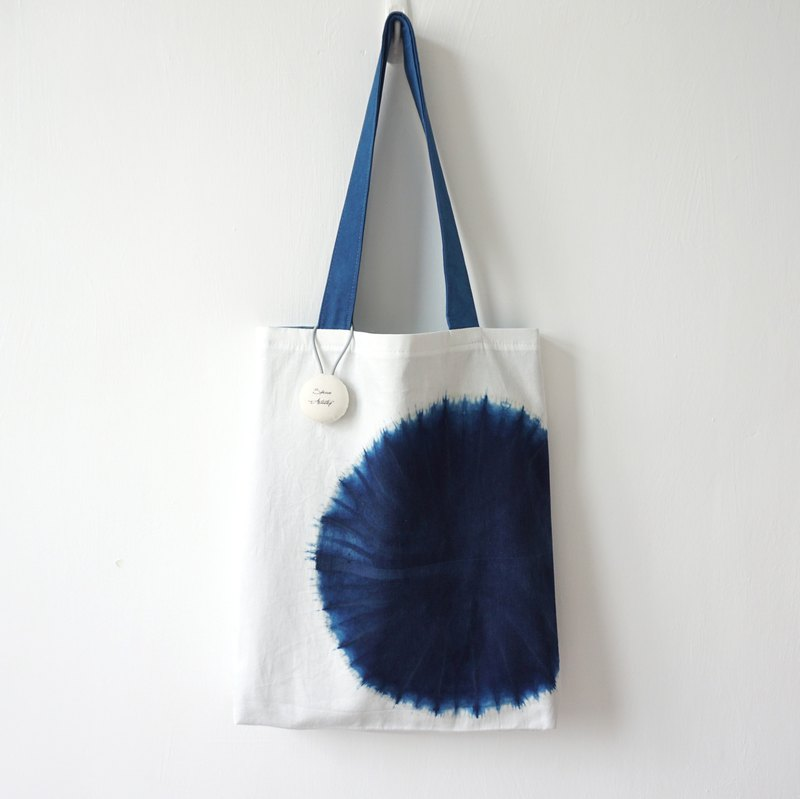 S.A x Have A Bite, Indigo dyed Handmade Geometric Pattern Tote Bag