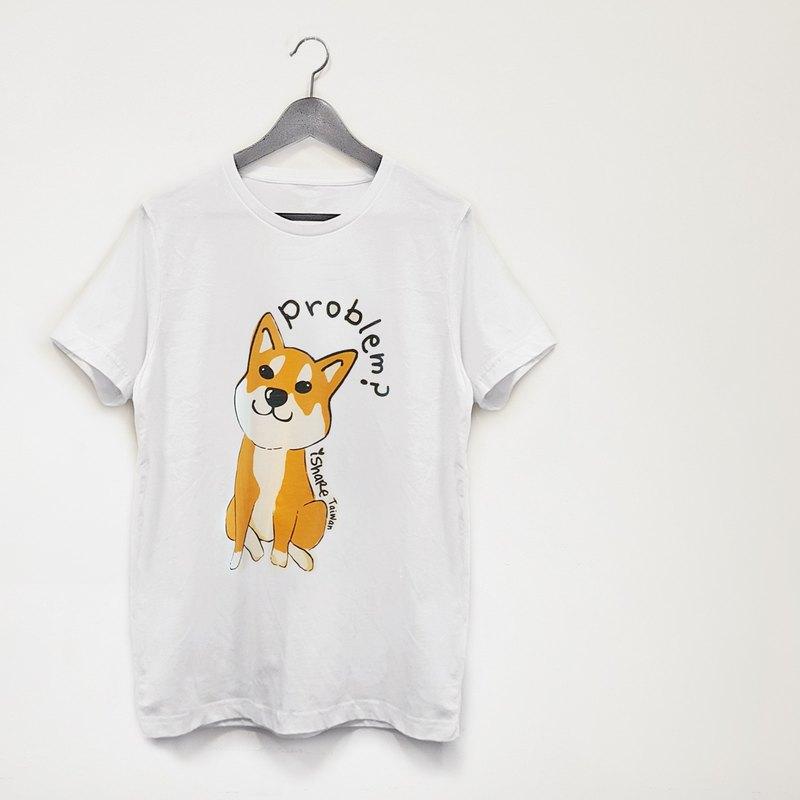 自創寵物雙面圖樣圓領純棉T恤-白 (多圖樣)
