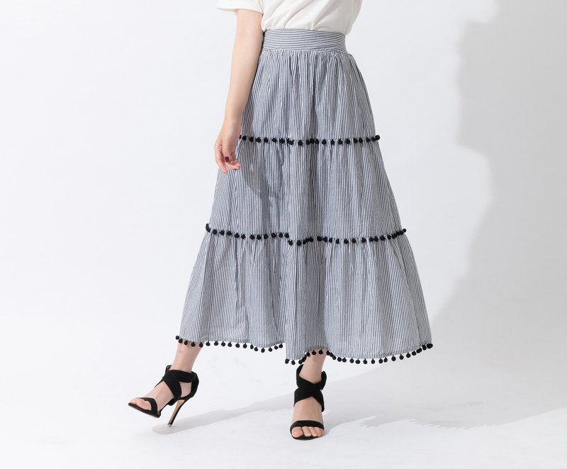 Stripe Cotton Layered Skirt
