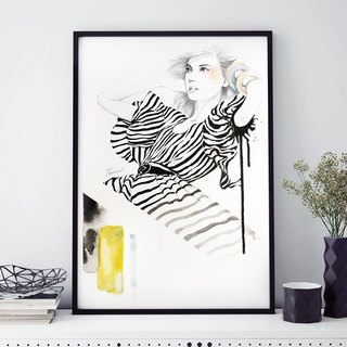 Nordic wind hand painted pencil watercolor painting NO.5 murals / home furnishings / interior design