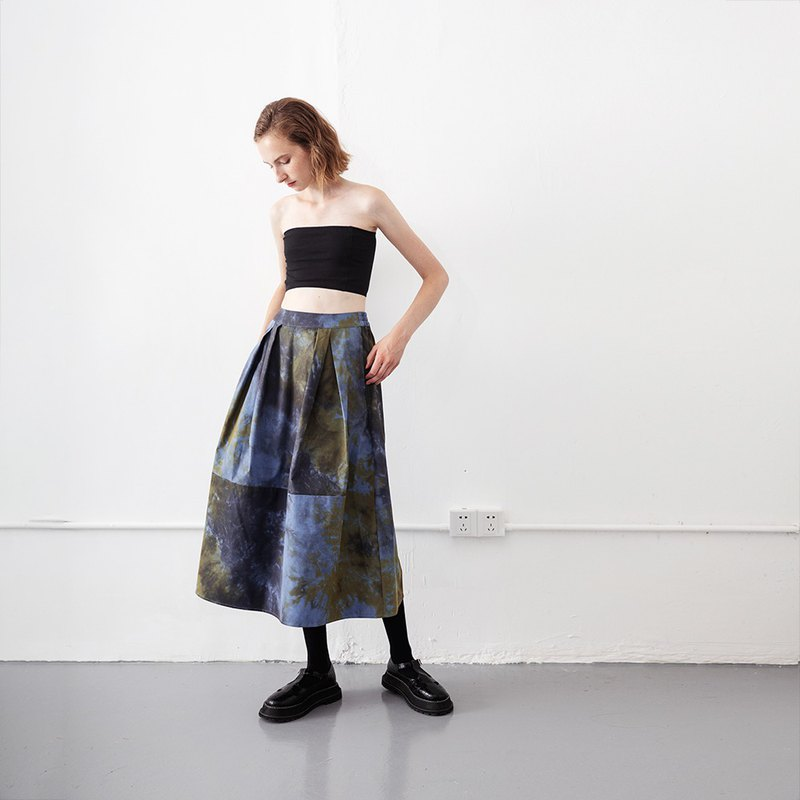 Tie-dyed skirt with long printed pleated skirt No.561