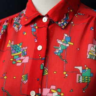 【RE0511T007】 Japanese children's play cute illustrations printed short-sleeved red ancient shirt