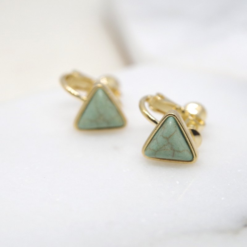 Wave Initial Value - Green Triangle Ear Clip Earrings (pair)