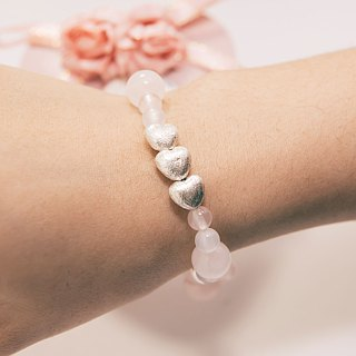 In Love Bracelet Precious Stones Rose Quartz White Agate 925 Silver Heart
