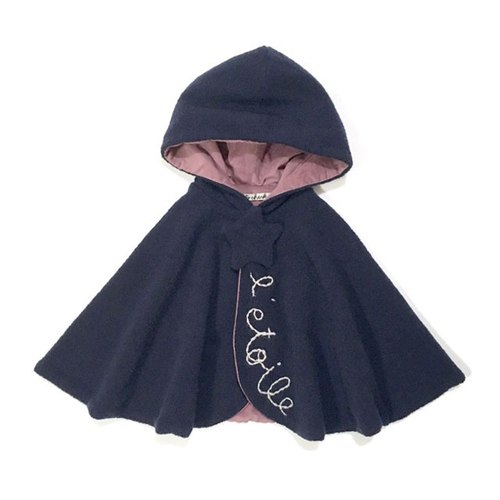 Star motif baby cape navy X pink