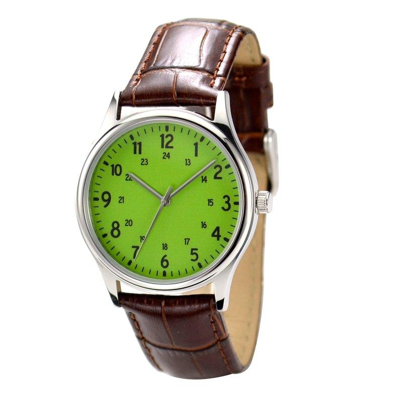 Minimalist number watches 1-24 Greenery Face I Unisex I Free Shipping