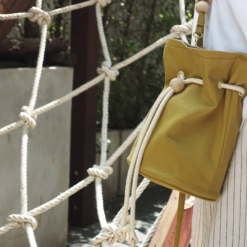 Poppy bucket bag in olive& grey
