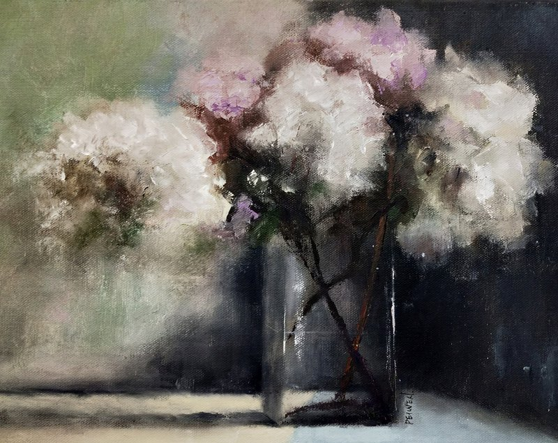 The life of Chen Huawen's oil painting flowers is silent