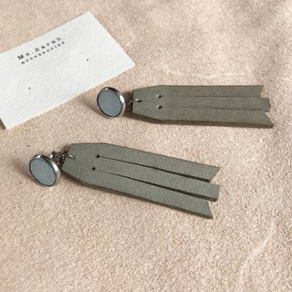 Leather earrings_ Round frame No. 8 works #10_Fringe models_Mint green and gray (can be changed)