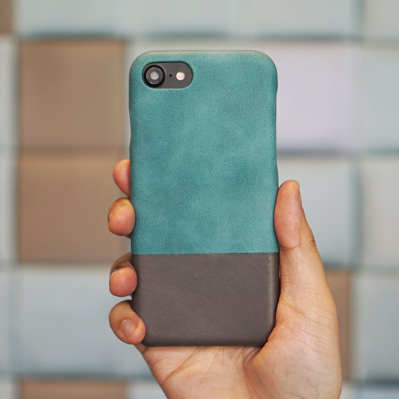 Customized blue color with light gray leather IPHONE 8/7 mobile phone case