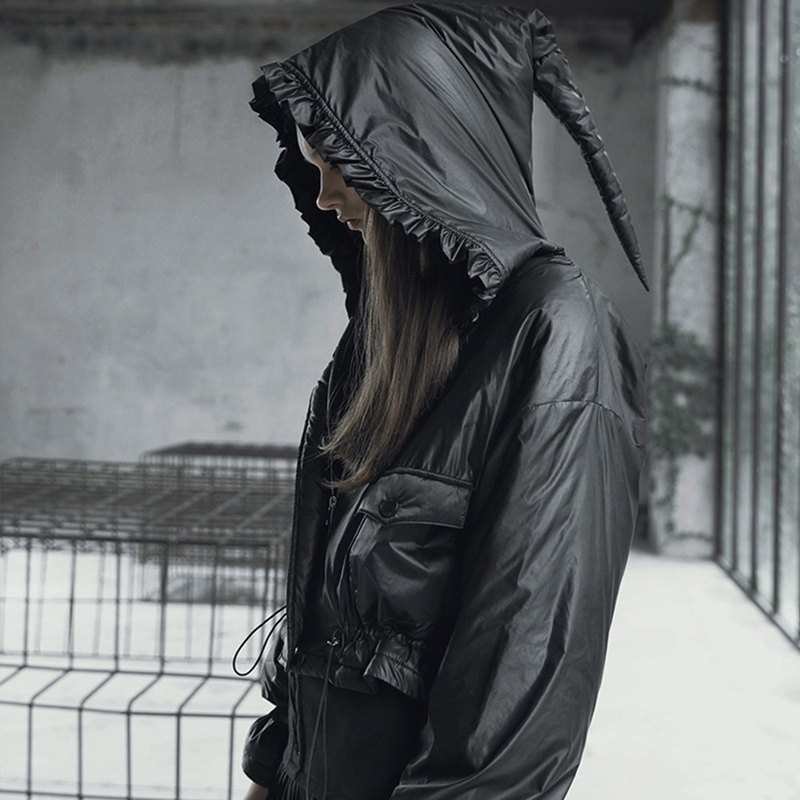 Witch Hooded Short Windproof Jacket