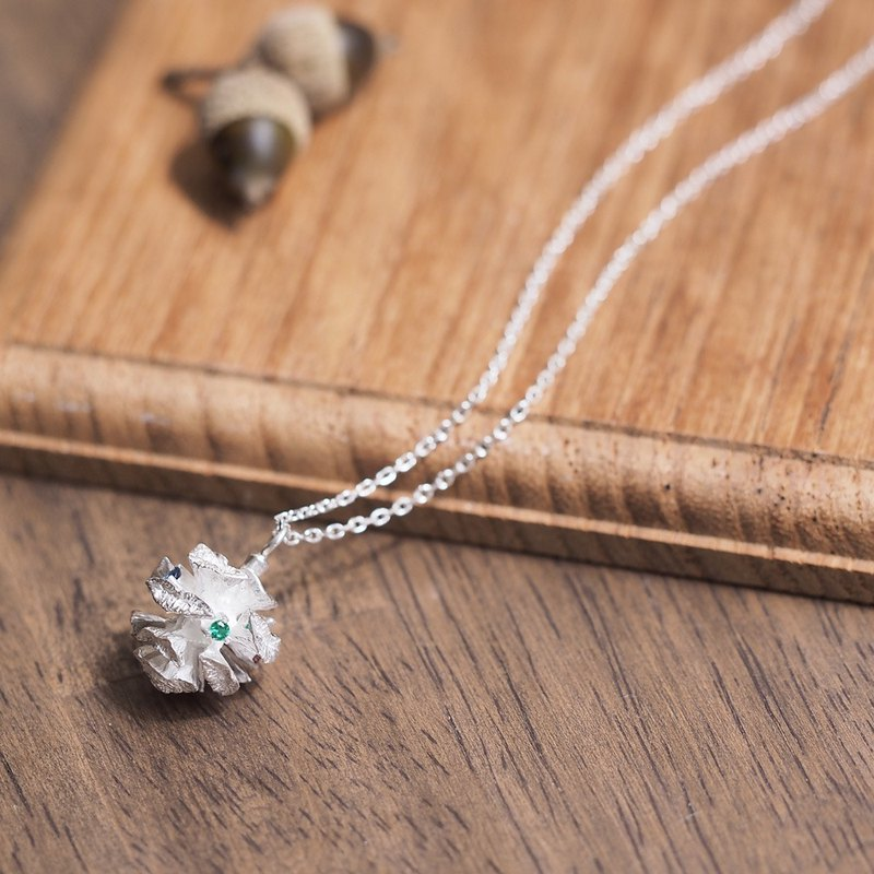 Stone Metasequoia real necklace silver 925