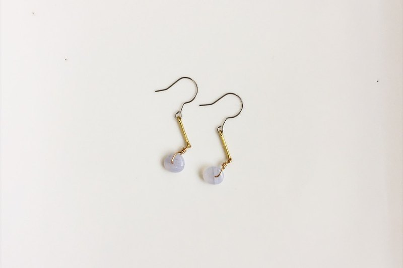 Small Sapphire brass natural stone earrings