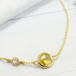 Edith & Jaz • Birthstone with CZ Collection - Citrine Quartz(Nov) Bracelet