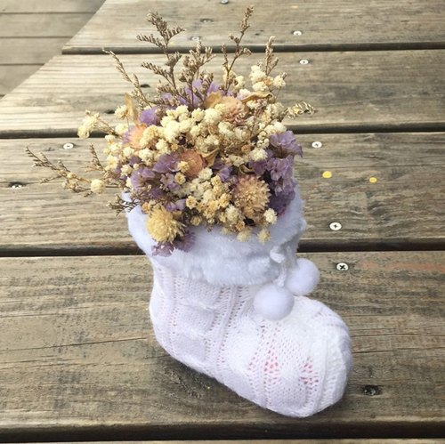 // jingle Christmas stocking // Christmas limited to white Christmas socks dried flower decorations / dried flower hand made / friend gift exchange gifts home decorations