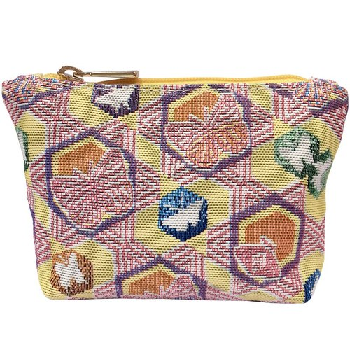 Videos jacquard woven purse yellow butterfly kaleidoscope