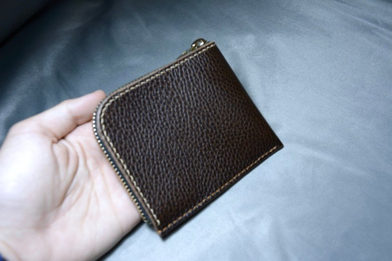 L-type coin purse / change / card / banknote / handmade / Italy 鞣 鞣 association certified cowhide