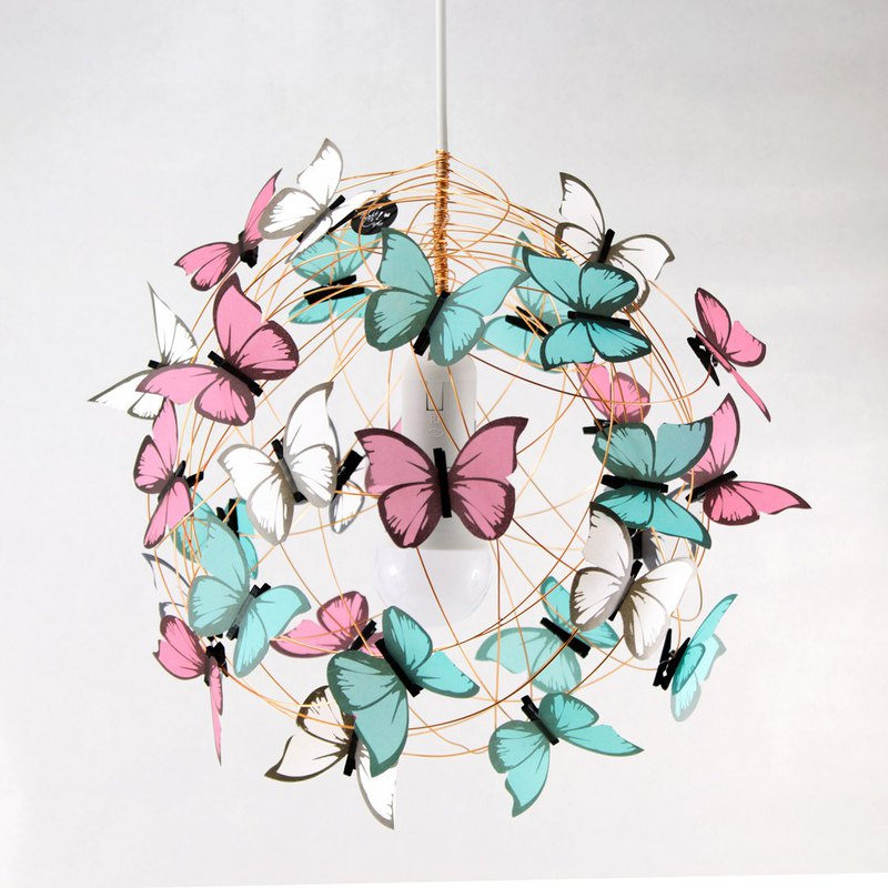 Butterfly Lamp Chandelier - Pink, turquoise, White