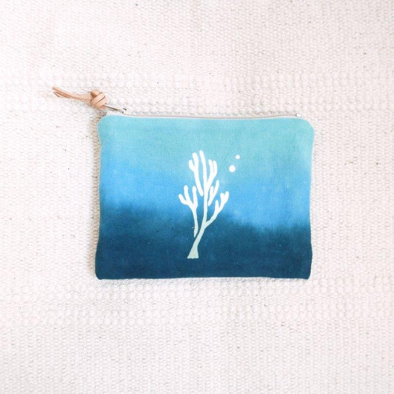 珊瑚 手染零錢包 收納包